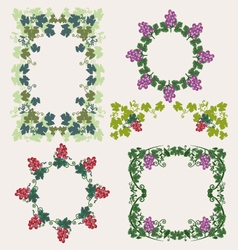 Decorative Frame with grapes vector image