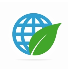 Logo combination of a leaf and globe vector