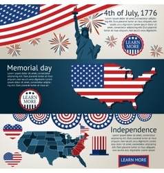 Set - 4th of july banners vector