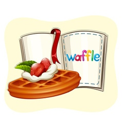 Waffle with strawberry and book vector