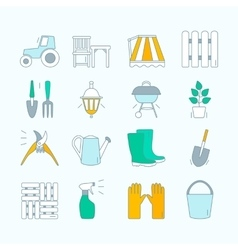 Gardening icons unique and modern set isolated on vector