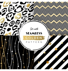 Set with seamless golden pattern vector