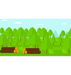 Background of the forest with piles of logs vector