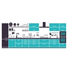 Modern kitchen cabinets and household equipment vector