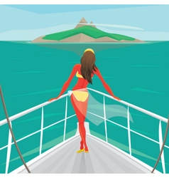 Girl standing on a yacht and admire the island vector