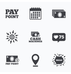 Cash and coin icons Money machines or ATM vector image