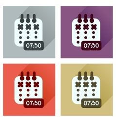 Concept of flat icons with long shadow diary vector