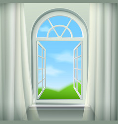 Open arched window vector