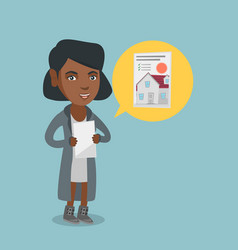African woman reading real estate advertisement vector