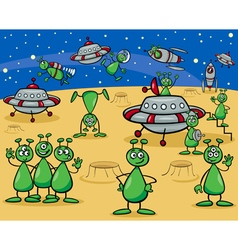 Aliens characters cartoon vector
