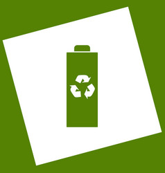 Battery recycle sign white vector