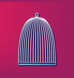 Bird cage sign blue 3d printed icon on vector