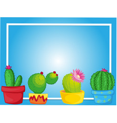 Border template with cactus in pots vector