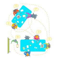cartoon teamwork brainstorming top view vector image vector image
