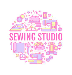clothing repair sewing studio equipment banner vector image vector image