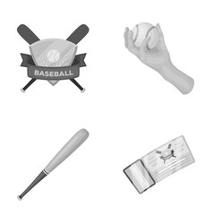 Club emblem bat ball in hand ticket to match vector