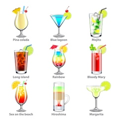Cocktails icons set vector image vector image