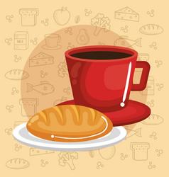 Coffee and bread design vector