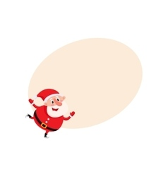 Cute and funny santa claus ice skating vector