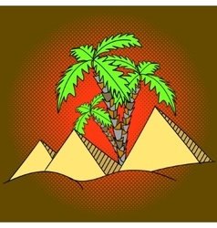 Egypt pyramids and palm trees pop art vector