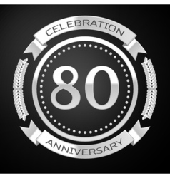 Eighty years anniversary celebration with silver vector