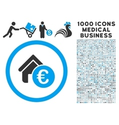 Euro Home Rent Icon with 1000 Medical Business vector image vector image