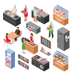 Food Court Elements Set vector image