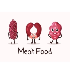 Frankfurter sausage and meat roulade character vector
