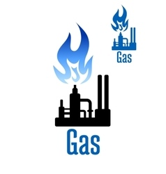 Gas processing factory icon with blue flame vector