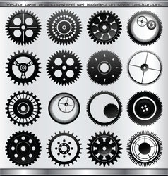 gear and cogwheel set - isolated vector image vector image