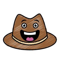 Gentleman hat kawaii character vector