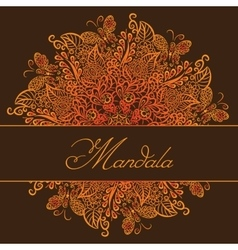 mandala Brown background Red ornament vector image
