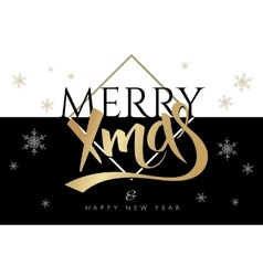 merry christmas greetings card with vector image vector image