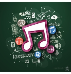 Music and entertainment collage with icons on vector image vector image