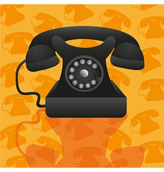 Old telephone on background pattern of silhouettes vector