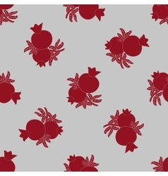 Pomegranate seamless pattern fruits and leaves vector