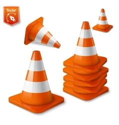 Realistic - set of orange road cones with vector image vector image