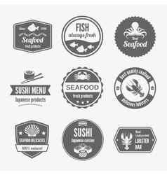 Seafood label set black vector