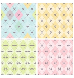 Seamless baby background collection vector