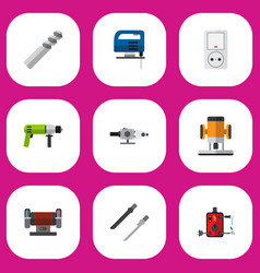 set of 9 editable electric icons includes symbols vector image vector image