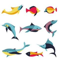 set of logo design elements - fishes signs vector image vector image