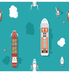 Top view sea ships seamless background vector image vector image