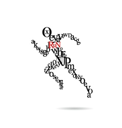 Typography running man vector image vector image