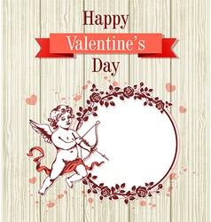 Vintage hand drawn Valentine card vector image vector image