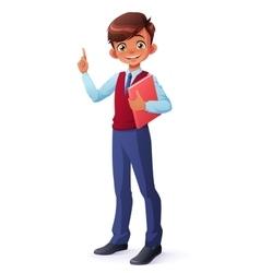 Smart smiling schoolboy index finger vector