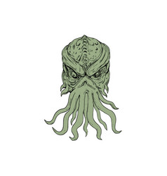 Subterranean sea monster head drawing vector