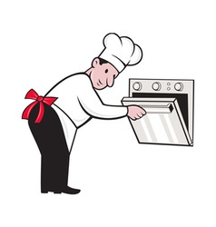 Cartoon chef baker cook opening oven vector