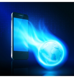 Flying flaming the globe from mobilephone vector