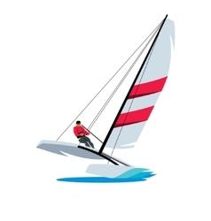 Catamaran and athlete at sea sign vector