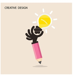 Creative bulb light idea and pencil hand vector